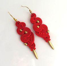 Red gold earrings soutache earrings long earrings by sutaszula