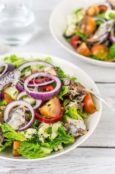 Sardine Salad - Light and delicious sardine salad with romaine lettuce, mixed tomatoes, romano peppers, black olives, feta cheese, fresh mint, and dill