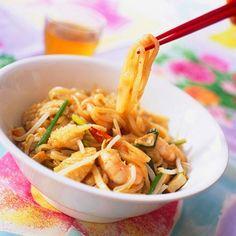 Recette de Nouilles chinoises sautées aux crevettes