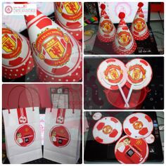 Manchester United Theme Birthday Stuff Party Hat, Toppers, Invites and LootBag #kimif1creations