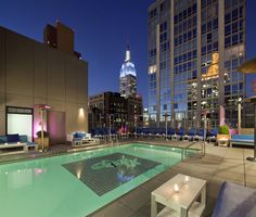 Stunning rooftop pool at the Gansevoort Park Avenue in New York City