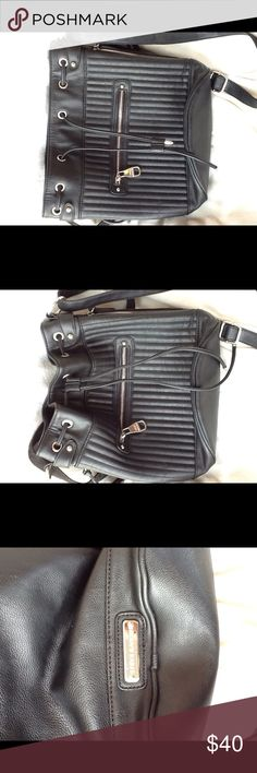 Steve Madden black purse or carry as a backpack Steve Madden black purse or carry as a backpack. Polyurethane. Looks like leather and brand new. Steve Madden Bags Backpacks