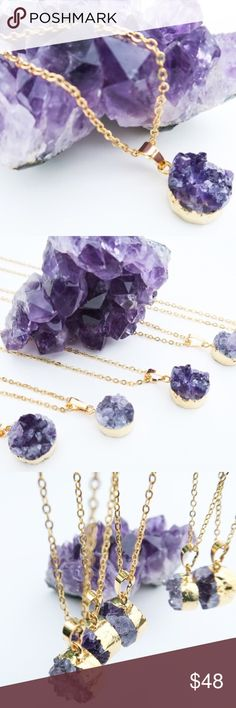 "Raw Amethyst Healing Necklace Raw amethyst necklace handcrafted in the US. Necklace features 24K gold plated 18"" chain and 0.5"" round pendant with pure amethyst stone.   PRICE FIRM  NO TRADES Jewelry Necklaces"