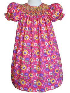 Laura Our Hot Pink Girls Floral Hand Smocked Bishop – Carousel Wear