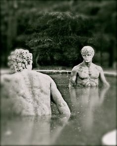 Items similar to Two Male Statues Water Pool Pond Wading Waist Deep Naked Bare Chest Stone Men Blurred Black and White or Color Art Photography Photo Print on Etsy Art Photography, Black White Art, Photography Photos, Statue, Male Art, Image Painting, White Photography, Buddha Statue, Male Art Photography