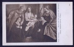 Mary and Child with Saints Vintage Religious Postcard Paolo