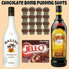 Chocolate Bomb Pudding Shots Sm Chocolate Instant Pudding ¾ c Kahlua ¾ c Coconut Rum Cool Whip (Extra Creamy preferred but not required) Whisk Kahlua and Instant Pudding together until as thick Chocolate Pudding Shots, Jello Pudding Shots, Chocolate Bomb, Pudding Pop, Pudding Shot Recipes, Rumchata Pudding Shots, Rumchata Drinks, Alcohol Chocolate, Jello Shot Recipes