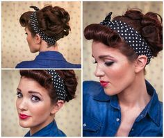 The Freckled Fox : Sweetheart Hair Week: Tutorial #3 - Rockabilly Rosie ... make a pony tail and pin curls around and over it.