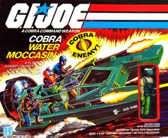 80s G.I. Joe toy box art for the Cobra Water Moccasin with Copperhead