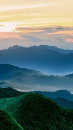 Nature Mist Mountains Hill Sky Landscape #iPhone #5s #wallpaper