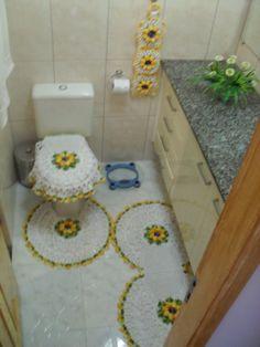 Jogo de tapetes de crochê em barbante para banheiro com flor …