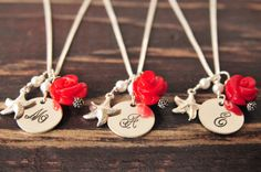 Bridesmaid Initial Necklaces/Flower Gift by LillyputLaneDesignCo, $114.00