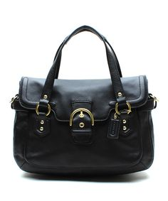 Look at this Coach Black Campbell Signature Leather Satchel on #zulily today!