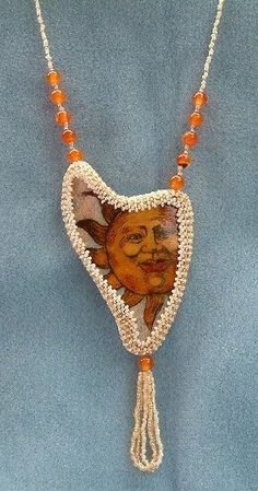 Orange Sun Necklace - Gourd Shard and Glass Beads