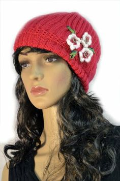 Pink Hand Knit Crochet Slouchy Winter Beanie Cap with Flower Trio Accent KENGDO,http://www.amazon.com/dp/B00I827HEY/ref=cm_sw_r_pi_dp_08K.sb00BESX9D88