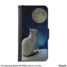 White Cat and Moon Wallet Case for Samsung Galaxy S4, S5 or S6