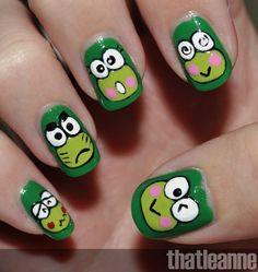Keroppi nails <3 <3 <3