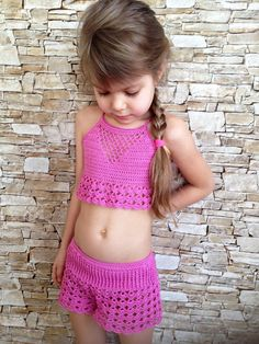 Crochet toddler set shorts and top Rose crochet lace shorts crop top Beach clothing kids Crochet toddler outfit Hippie boho toddler clothing - Rose Crochet Crochet Shorts, Crochet Crop Top, Crochet Clothes, Crochet Lace, Lace Shorts, Free Crochet, Crochet Toddler, Crochet Girls, Crochet For Kids