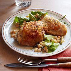 crispy chicken thighs with lemony escarole salad crispy chicken thighs ...