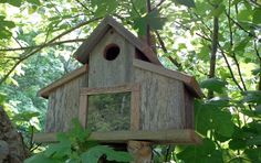 Rustic Reclaimed Barn with a view Birdhouse by SwampwoodCreations
