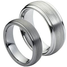 His & Her's 8MM/6MM Tungsten Carbide Domed Step Edge Brushed Center Wedding Band Ring Set, Men's, Size: Ladies Size 10 - Mens Size 12.5, cobalt