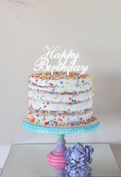 Birthday cake , naked cake , funfetti cake , confetti cake