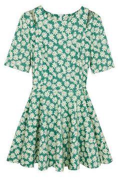 Green Floral Daisy Dress