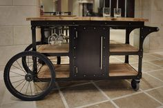 A look at the diverse shapes, sizes and styles of beautiful bar carts. Cheap Liquor, Butcher Block Top, Built In Bar, Conference Table, Bar Accessories, Steel Doors, Kitchen Cart, Wood Shelves, Custom Furniture