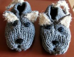 """Mean scary wolf adult slippers......grrrr!  I used Grandma's slipper pattern (see link) and then embellished with the 'critter"""" stuff. I would be happy to email you those instructions if you would like for free.  stacydgross@yahoo.com"""