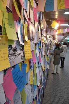 Wall of Wishes- Jongno Subway station, Seoul