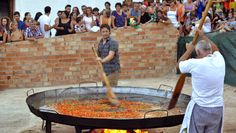 An authentic taste of Andalucia. Jamie Oliver cooked a paella for 500 villagers in Benaojan, near Ronda, in the biggest pan he'd ever seen. Jamie cooked rabbit stew. He was taught how to cut Serrano ham and he joined in the festivities, as a giant statue of the Virgin was carried from a church to the sea by 100 men. He prepared authentic gazpacho; pork chops with Spanish beans; salt-roasted fish; tomato salad with chorizo; and a quail's egg breakfast with morcilla (black pudding).