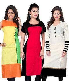 LadyIndia.com #Kurtis, Stylish Partywear Cotton Red Yellow White Kurti 3 Comobo For Women, Kurtis, Kurtas, Cotton Kurti, https://ladyindia.com/collections/ethnic-wear/products/stylish-partywear-cotton-red-yellow-white-kurti-3-comobo-for-women