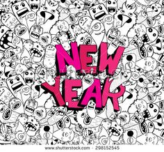 new year doodle hipster background - stock vector
