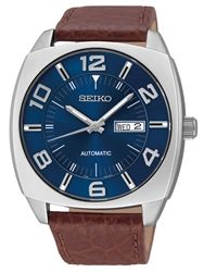 Seiko Recraft series Automatic Watch with 43.5mm case, brown leather strap #SNKN37