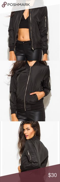 Bomber Jacket Women's Black zip front lightweight crop  Bomber jacket. Silver zippers. Front pockets as well as sleeve pockets ribbed collar cuff and waist.  Fully lined. Jackets & Coats