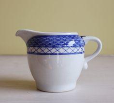 SALE Royal Copenhagen - one small milk jug/ creamer, design from Denmark, blue white with woven brim