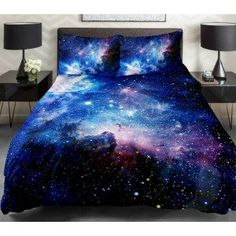 Nebula Bedding Sets 2 Sides Printing Blue Nebula  Quilt Duvet Covers Colorful Nebula Bedspreads With 2 Matching Nebula Pillow Covers. from http://anlye.com/