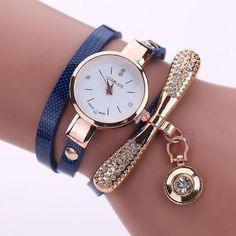 1 PC Ladies Faux Leather Rhinestone Analog Quartz Wrist Watches