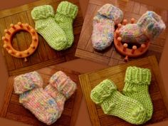 Loom knit - baby booties made on 12 peg flower loom