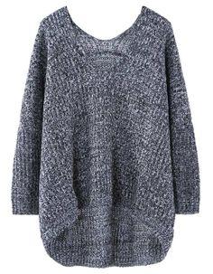Black Long Sleeve V Neck Oversized Asymmetric Sweater US$33.10