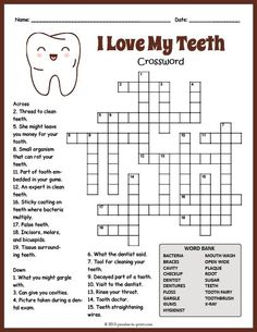 Fun printable worksheet for ELA or ESL students features 19 dental health to identify. health education health education activities health education for kids health education fun health education lesson plans health education tips Teeth Health, Dental Health, Oral Health, Printable Crossword Puzzles, Printable Worksheets, Free Printable, Dental Kids, Free Dental, Health Unit