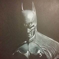 """""""The Dark Knight"""" - 12x12 white charcoal on black paper."""