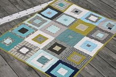 """She calls this """"the manly baby quilt"""" and I agree! Gotta make one of these!!!"""