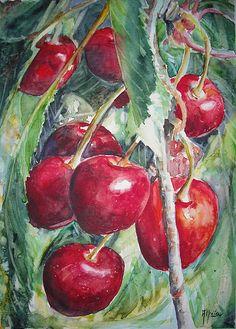Serpieri, Red Art, Botanical Drawings, Fruit Art, Watercolour Painting, Pretty Pictures, Art Tutorials, Still Life, Contemporary Art