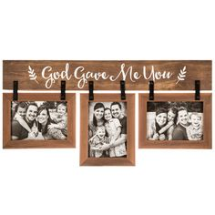 God Gave Me You Photo Frame and Wall Plaque, Wood, for Three 5 x 7 inch Photos, 24 x 12 inches Collage Picture Frames, Frames On Wall, Wall Collage, Pallet Pictures, Mdf Frame, Picture Hangers, Gifts For Office, Frame Crafts, Diy Pallet Projects