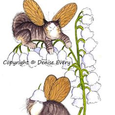 Tabby Maine Coon Kitty Fairies Lily of Valley Spring Fantasy Cat Fairy Art 8x10 Print