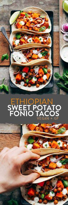 Ethiopian Sweet Potato Fonio Tacos #plantbase #vegan