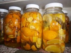Put vinegar in quart jars and added the rinds of citrus fruits (oranges and lemons)!!  Let them sit for a few weeks, strain, and use that vinegar for your cleaners!
