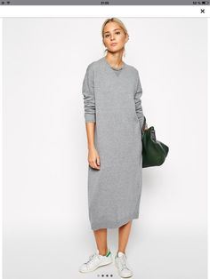 Buy ASOS WHITE Knit Midi Jumper Dress at ASOS. Get the latest trends with ASOS now. Mode Outfits, Casual Outfits, Fashion Outfits, Womens Fashion, Look Fashion, Winter Fashion, Sweatshirt Dress, Long Jumper Dress, Grey Knit Dress