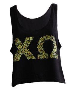 Chi Omega Flower Crop Top by Adam Block Design | Custom Greek Apparel & Sorority Clothes | www.adamblockdesign.com